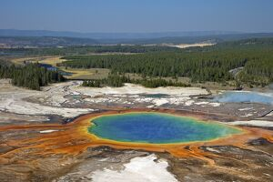 Grand Prismatic Spring, Midway Geyser Basin, Yellowstone National Park, UNESCO World Heritage Site