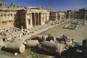 The great court in the acropolis of Baalbek
