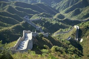 The Great Wall of China snaking through the hills, UNESCO World Heritage Site