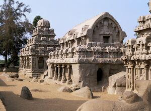 Group of rock cut temples called the Five Rathas (5 chariots)