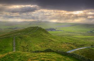 Hadrians Wall near Cawfields Quarry, UNESCO World Heritage Site, Northumberland