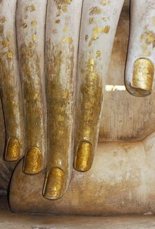 Detail of the hand of a stucco seated Buddha statue