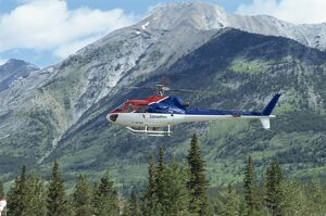 Helicopter in the Rocky Mountains, British Columbia, Canada, North America