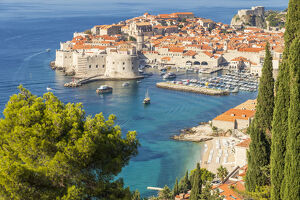 High-angle view over the old town of Dubrovnik and Banje Beach, Dubrovnik, Croatia
