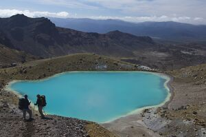 Hikers near Emerald Lakes on the Tongariro Crossing