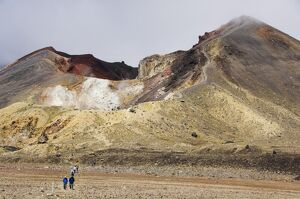 Hikers at Red Crater on the Tongariro Crossing