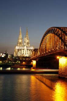Hohenzollern Bridge over the River Rhine and Cathedral, UNESCO World Heritage Site