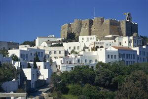 Hora and St. John Monastery, Patmos, Dodecanese, Greek Islands, Greece, Europe