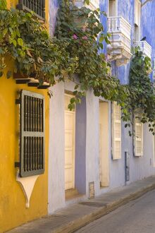 House in Old Walled City District, Cartagena City, Bolivar State, Colombia, South America