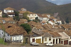 houses tiled roofs town ouro preto brazil south