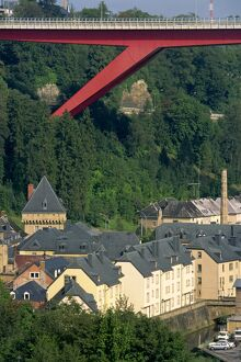 Houses and trees below Catherine Bridge in Luxembourg