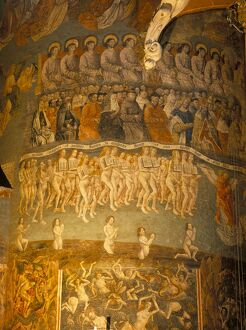 Part of huge mural of the Last Judgement, believed to be by Flemish artists dating from the late 15th century, in the nave of Ste. Cecile Cathedral, Albi, Midi-Pyrenees,