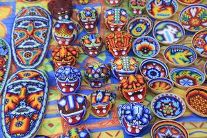 Huichol handicrafts in the market, Patzcuaro, Michoacan state, Mexico, North America