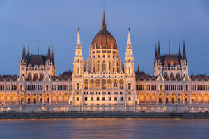 Hungarian Parliament at night on the River Danube, UNESCO World Heritage Site, Budapest