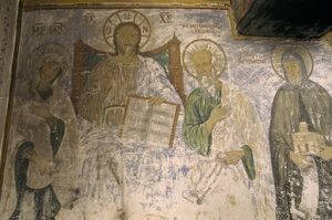Interior frescoes on church wall in the Monastery of St