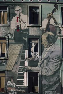 Jazz mural on building at Broadway and Columbus