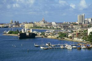 Jetties, harbour and skyline of the city of Cartagena in Colombia, South America