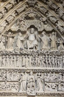 Last Judgment tympanum, Central Gate, Amiens Cathedral, UNESCO World Heritage Site