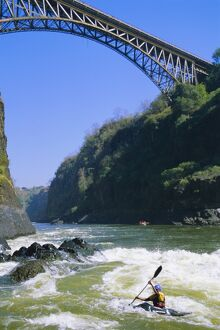 Kayaking on the Zambezi River, Batoka Gorge, Victoria Falls, border of Zambia/Zimbabwe