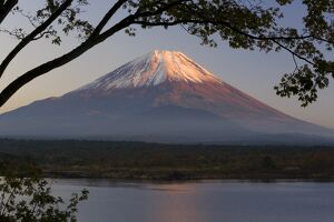 Lake Shoji-ko and Mount Fuji in evening light