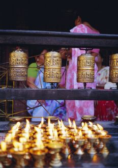 Lamps and prayer wheels