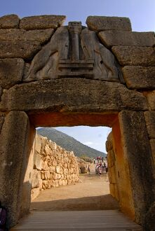 Lion's gate at Mycenae, UNESCO World Heritage Site, Peloponnese, Greece, Europe