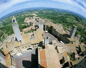 Looking down on San Gimignano from one of the town's