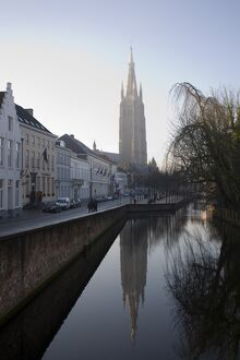 Looking south west along Dijver, towards The Church of Our Lady (Onze Lieve Vrouwekerk)