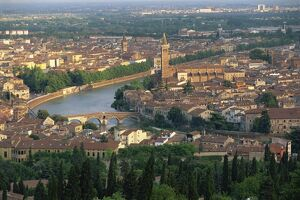 Low aerial view over the town of Verona and the River Adige