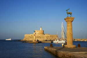 Mandraki Harbour, Rhodes City, Rhodes, Dodecanese, Greek Islands, Greece, Europe