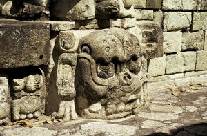 Mayan carved stone skull on top of East Court