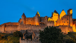 Medieval citadel, Carcassonne, a hilltop town in southern France, UNESCO World Heritage