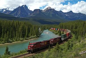 Morants Curve, Bow River, Canadian Pacific Railway, near Lake Louise, Banff National Park