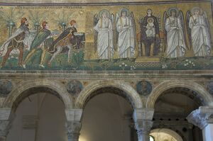 Mosaic depicting the Three Kings bringing gifts to the Holy Child, 6th century basilica di Sant'Apollinare Nuovo, UNESCO World Heritage Site, Ravenna, Emilia-Romagna,