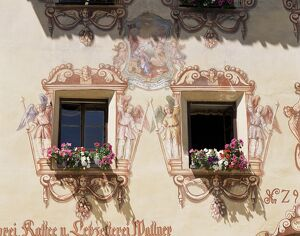 Mural surrounding cafe windows, St. Wolfgang, Salzburg Province, Austria, Europe