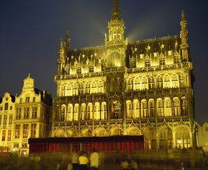 The Museum floodlit at night in the Grand Place in Brussels, Belgium, Europe