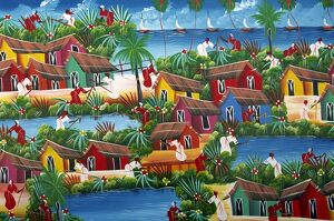 Naive Haitian painting, Colonial Zone, Santo Domingo, Dominican Republic