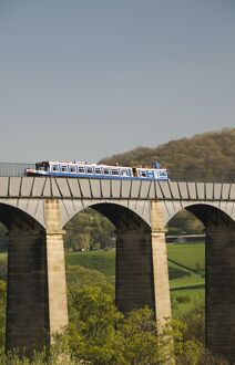 Narrow boat crossing the Pontcysyllte Aqueduct, built by Thomas Telford