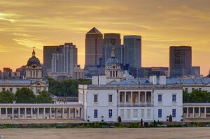 National Maritime Museum with Canary Wharf in Dockland on skyline, Greenwich