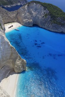 Navagio Beach and shipwreck at Smugglers Cove on the coast of Zakynthos, Ionian Islands