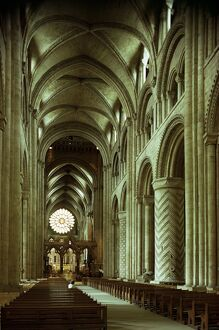 The nave, Durham Cathedral, County Durham, England, United Kingdom, Europe