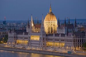 The neo-gothic Hungarian Parliament building, designed by Imre Steindl