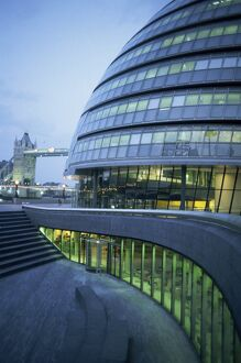 New City Hall and Tower Bridge at dusk, London, England, United Kingdom, Europe