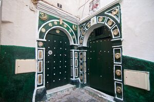Old green doors in the Kasbah of Algiers, Algeria, North Africa, Africa
