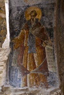 Old wall painting at Mystras, UNESCO World Heritage Site, Peloponnese, Greece, Europe