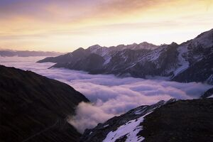 Ortler Group and morning fog