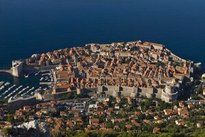 Overlooking the old town of Dubrovnik, UNESCO World Heritage Site, Croatia, Europe