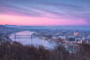 Overview of the city at sunset from The Citadel on Gellert Hill, Budapest, Hungary