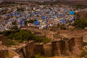 palace walls mehrangarh fort towering blue rooftops