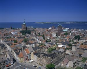 Panorama over the houses and churches of the town of Stralsund